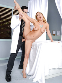 Juicy pornstar with big boobs is letting this strong doctor wearing glasses fuck her hard. He is punishing her in different moves being clothed.