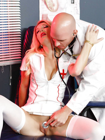 Leggy blonde with perky tits is a nurse who wants to fuck her big-dicked and bald-headed colleague. She seems to be really fond of him.
