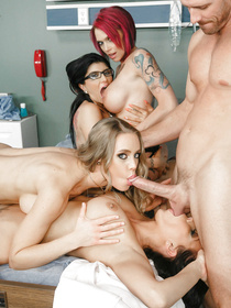 That's the greatest medical orgy you have ever seen. Three beautiful girls get out-performed by the beautiful Nicole Aniston.