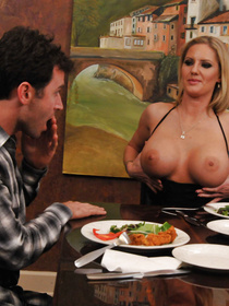 Red panties short-haired MILF just flashes her massive tits like it's nothing, gets fucked by a big-dicked stud on the dinner table.