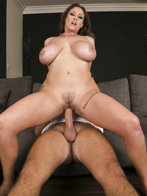 White dress and white panties MILF brunette gets massaged and fingered by a big-dicked dude, he ends up smashing her puss sideways on a couch.