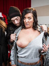 Blue dress thick MILF reveals her tits, all happy and whatnot, gets to fuck a big-dicked hobo-looking younger dude, so yay.