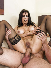 Black dress brunette MILF gets her pussy licked and drilled by a big-dicked guy who's really happy about this whole ordeal.