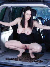 Watch the strong guy banging this brunette MILF into his big car. He is pushing his aggregate into her mouth and vagina with excitement.