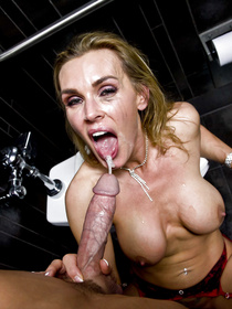 Dirty blonde with huge fake tits is fucking with her bald partner wildly. She is sucking and riding his sensational aggregate in the toilet.