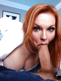 Horny ginger lady wearing sexy black stockings is sucking the strong man's huge cock wildly. She is also getting her ass fucked with wild energy.