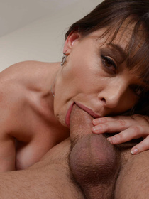 Filthy brunette is practicing wild fuck session with the brutal delivery man. She is ready to be playing with his dick in her bedroom for hours.