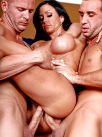 She's looking real jacked today, these two big-dicked studs decided to double team and double-penetrate this luxurious brunette bombshell.