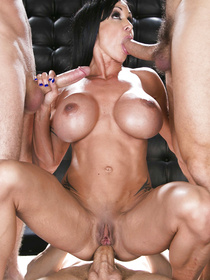 This brunette with blue streaks always gets what she wants, she wanted one big cock but ended up dealing with three of them, in some VIP bar room.