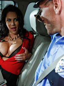 Brunette with black panties gets brought in for questioning but obviously ends up seducing the officer with them nice MILF titties.