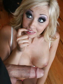 Hung sailor returns home and shows his cock, the blonde is shocked 'cause it's bigger now or something. Watch her take it and love it.