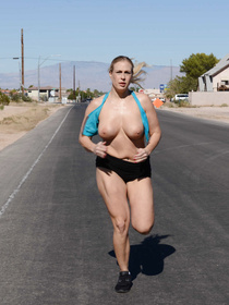 Thick blonde loves running topless, she comes her after her hike and catches a younger stud in the shower, the two obviously end up fucking.
