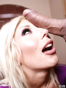 Purple get-up blonde meets up with a guy, who has a massive cock and a knack for looking really aggressive during sex.