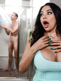 Tight dress brunette is impressed with the guy's size, she jumps into the shower with him; her redheaded GF follows in her footsteps soon enough.
