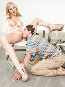 White get-up delicious blonde MILF spreads her legs and shows off her massive tits to a guy who's really struggling with his homework.