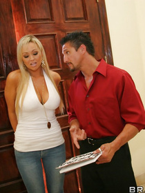 Watch the muscular man banging the busty blonde wearing blue jeans. He is penetrating her holes while her husband is watching the process.