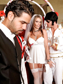 Shades-wearing blonde in white stockings wants to get married in Vegas but ditches her hubby to fuck some hung Elvis impersonator.