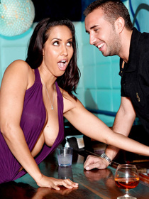 Latina brunette in the sluttiest dress imaginable wants to bang the bartender, and he doesn't mind fucking her too. Enjoy the show!