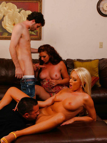 Powerful men are having awesome foursome with the busty blonde and with the redhead sex bomb. They are jizzing into their mouths massively.
