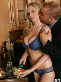 Sexy blonde wearing the white dress is being presented with cunnilingus by her partner. He is also drilling her wet pussy with energy.