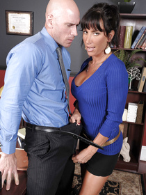 Sexy MILF is fucking with the bald man in the office while her husband is watching. She is doing her best to satisfy this pussy-hungry man.
