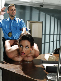 Sexy woman in the black skirt is enjoying wild fuck in the prison. She is presenting the police man with blowjob and being punished so hard.