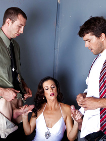 Old-timey brunette brought in for the questioning and decides to seduce two hung police officers, fuck them right there and then.