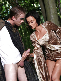 This LARP-ing brunette beauty meets some forest wizard, talks to him for a bit and decides to get fucked by his massive staff.