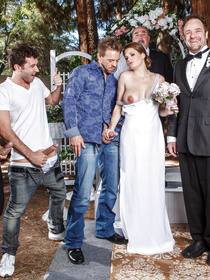 Watch three powerful men banging the busty bride on her Wedding Day. She is taking off her white dress and enjoying hardcore foursome.