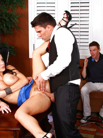 Sexy woman is taking off her blue dress and enjoying sex with the strong guy. She is demonstrating her fuck skills while her husband is watching.