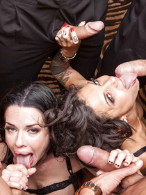 Two sensational ladies with big boobs are fucking passionately with three strong men. They are getting all their sweet holes drilled hard.