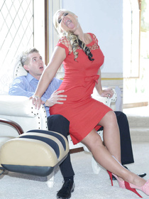 It is really impossible not to fuck such a gorgeous wife every day. She is taking off her sexy red dress and enjoying wild fuck with the lover.