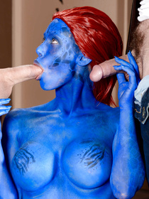 Mystique is all blue, so she blew both Wolverine and Cyclops. Yeah, even that whiny bitch Cyclops. Enjoy this hardcore threesome with a shapeshifter.