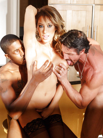 Nothing is better for this adorable wife than practicing interracial threesome. She is satisfying the white man and the ebony guy in the kitchen.