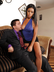 Tanned Latina brunette is looking so hot wearing the black skirt and the blue blouse. She is presenting her partner with fantastic sex on the camera.
