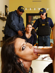 Watch the busty brunette having wild sex with the FBI agent in blue uniform. She is getting banged with his long cock while her tied up husband is watching.