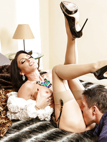 Watch the powerful guy enjoying sensational sex with the brunette wife. She is looking amazingly sexy wearing black stockings and the blue dress.