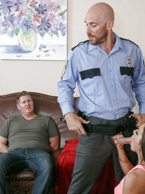 Busty slut is fucking passionately with the brutal man wearing police uniform. She is taking sensational care of his big boner on the brown sofa.