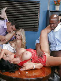 Wild ladies are going mad about big boners of their interracial partners. They are practicing fantastic foursome on the brown table in the office.