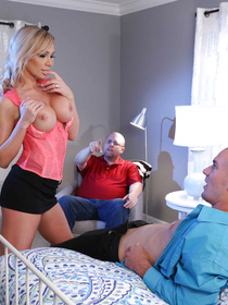 Chubby man is watching his juicy wife fucking passionately with another brutal man. She is sucking and riding his aggregate in the bedroom.