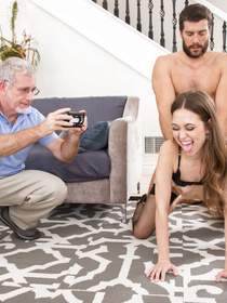 Powerful guy is banging the juicy babe deep into her mouth and hairy cunt while another man is filming. The slut is being covered with cum.