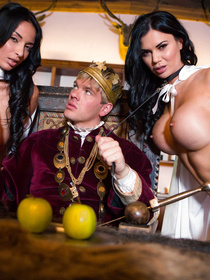 Enter the king's castle and see him fucking two busty brunettes wildly. He is taking off his crown and punishing both of them passionately.