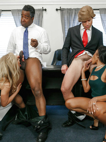 Watch this cool clip to see the XXX President cosplay. Two sex-hungry interracial couples are enjoying swinger party in the big cabinet.