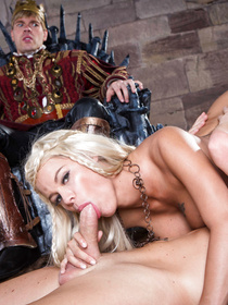 Wild blonde with massive fake tits is enjoying hardcore fuck session with the king. She is sucking and riding his thick boner on the throne.