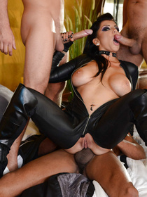 Watch three unstoppable men banging this busty sniper wearing black uniform. They are presenting her with double penetration and with triple cumshot.