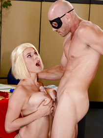 Busty crime fighter stops a robbery thanks to the amazing power of sex. Watch her big-dicked nemesis nail her from behind.