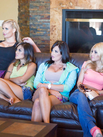 Watch several juicy pornstars chatting in the living room. They are ready for having unforgettable orgy with their powerful partners.