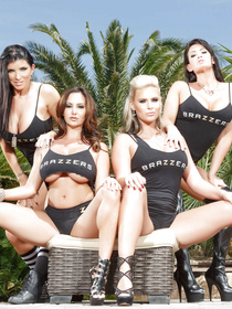 All the viewers will fall in love with these busty pornstars wearing extremely sexy black uniform. They are touching their half-naked bodies with care.