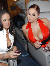 Threesome fuck with two super sweet big tits office ladies Carmella Bing and Gianna Michaels in the middle of the luxury airplane.