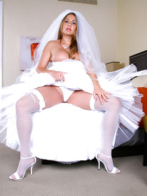 Stunning bride has her dress and beautiful stockings still on after the ceremony when she gets fucked by her lovers big cock in the absence of her husband.
